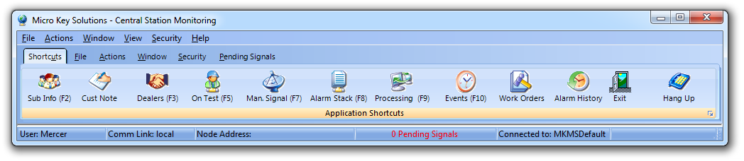 HelpFilesAlarmMonitoringApplicationShortcuts